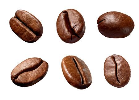 Colección de varios granos de café sobre fondo blanco. Foto de archivo
