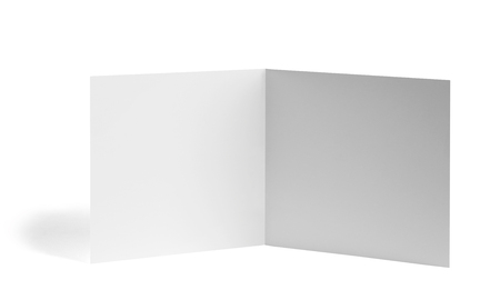 close up of a  blank folded leaflet white paper on white background