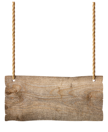 wooden blank sign hanging with chain and rope on white background