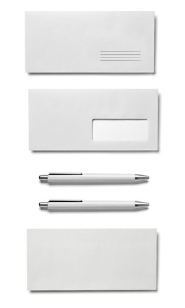 collection of  various white business print templates on white background. each one is shot separately Reklamní fotografie