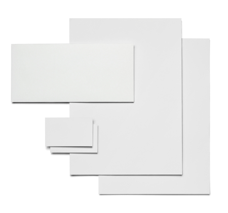 envelope, paper and business card template on white background