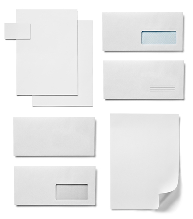 collection of various white paper document on white background. each one is shot separately