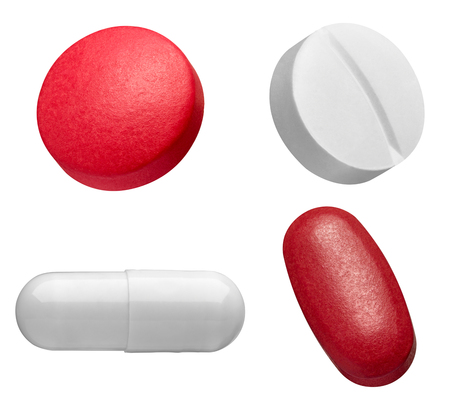 collection of various white and red pills on white background Imagens
