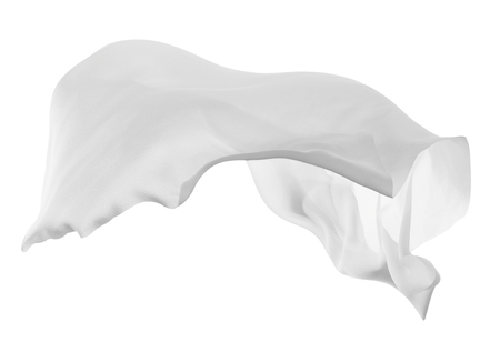 close up of a white fabric cloth flowing on white background