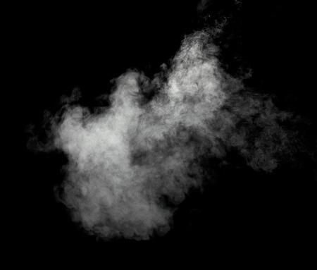 close up of steam smoke powder on black background Imagens