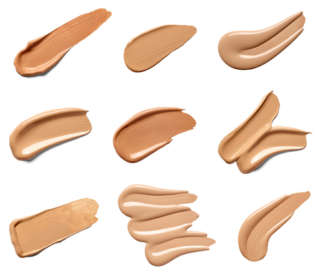 collection of beauty liquid powder make up strokes on white background. each one is shot separately