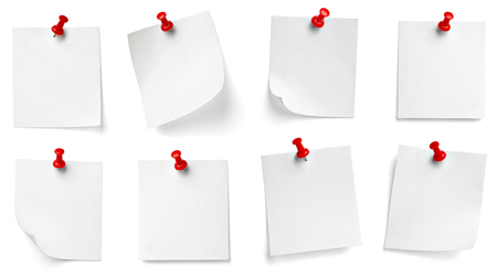 collection of various note paper with a push pin on white background