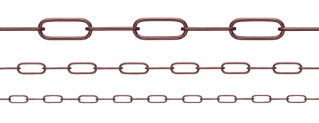 collection of various chain on white background. each on is shot separately Banco de Imagens
