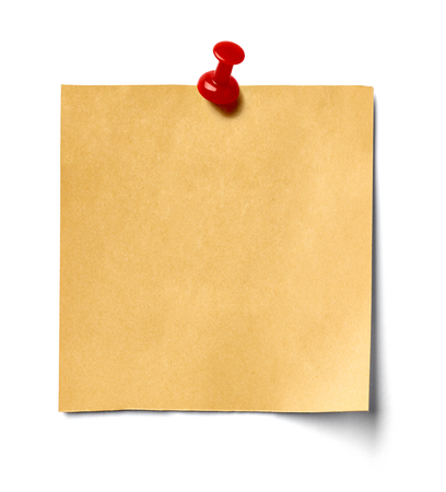 close up of a note paper on white background