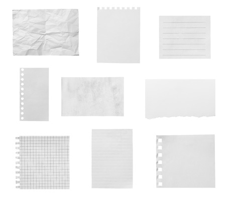 collection of various ripped pieces of paper on white background. 免版税图像
