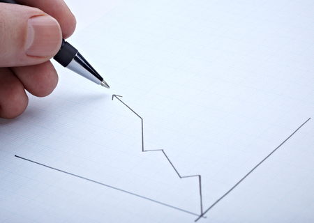 close up of  a business finance graph, papers and pencil