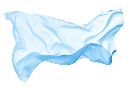 close up of a colored fabric cloth flowing on white background