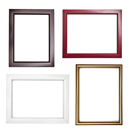 collection of various  wooden frame on white background. each one is shot separately