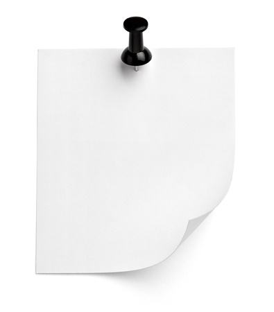 close up of  a note paper with a push pin on white background Stock Photo