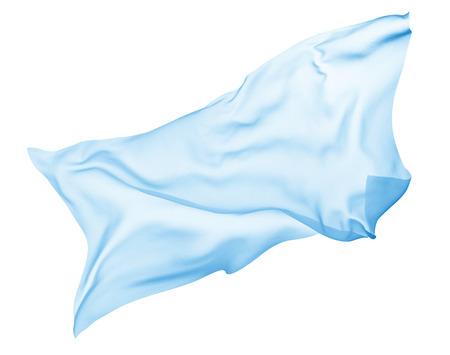 Gros plan d'un tissu de couleur qui coule sur fond blanc Banque d'images