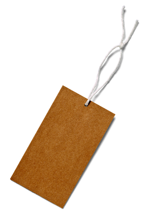 close up of  a price label note on white background