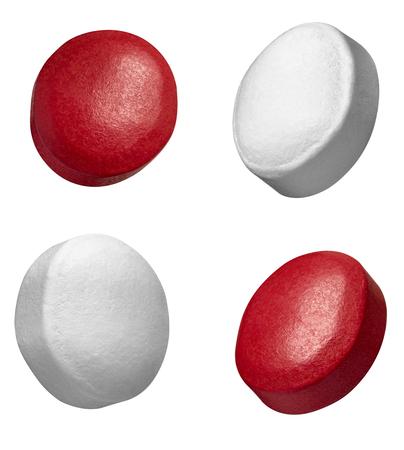 zbiór różnych białych i czerwonych tabletek na białym tle Zdjęcie Seryjne