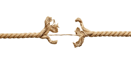 close up of a rope under pressure on white background Stock Photo