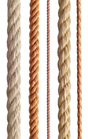 collection of  various ropes string on white background. each one is shot separately Фото со стока