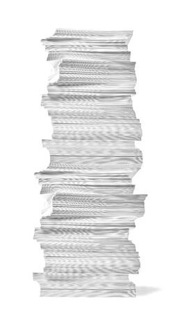 Gros plan d'une pile de papier sur fond blanc