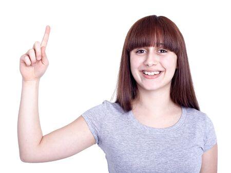 two girls pointing finger Imagens