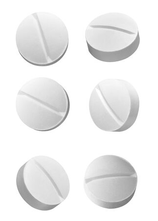 collection of various white pilsl on white background