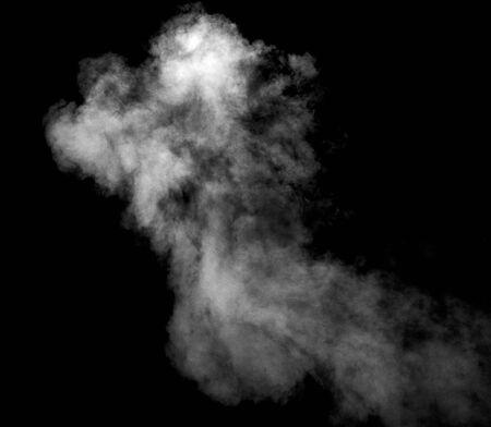 close-up van stoomrook op zwarte achtergrond
