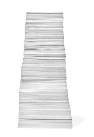 close up of a stack of paper on white background Stock Photo