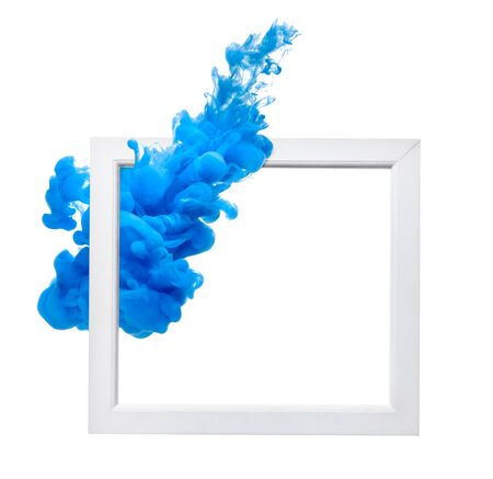 close up of  a white wood frame on white background Stockfoto