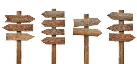 raccolta di vari cartelli in legno su sfondo bianco