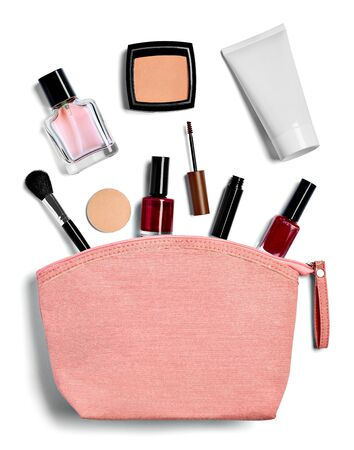 close up of  a vanity case full of make up on white background Фото со стока - 129877519