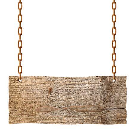 Cartel de madera en blanco colgando con cadena y cuerda sobre fondo blanco.
