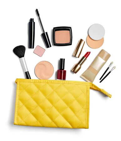close up of  a vanity case full of make up on white background Фото со стока - 129879184