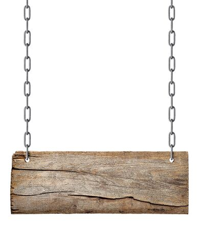 Panneau vierge en bois suspendu avec chaîne et corde sur fond blanc