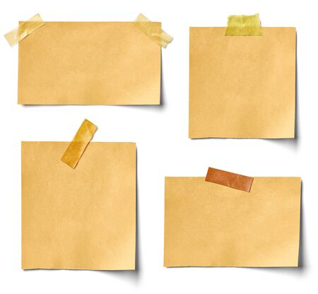 collection of various vintage note paper on white background. each one is shot separately