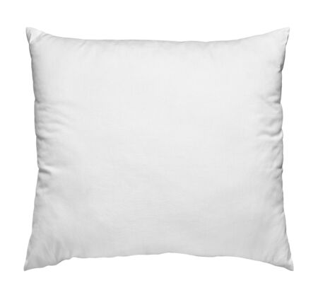 Gros plan d'un oreiller blanc sur fond blanc Banque d'images