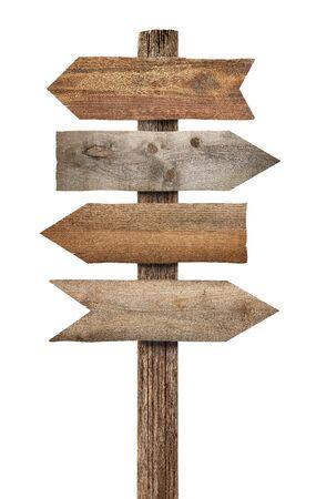 Gros plan d'un panneau en bois sur fond blanc