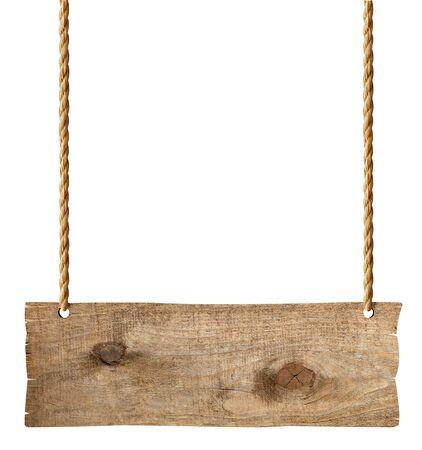 Nahaufnahme eines Holzzeichens auf weißem Hintergrund Standard-Bild