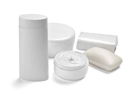 close up of  a white beauty cream container and tube on white background Фото со стока - 131389756