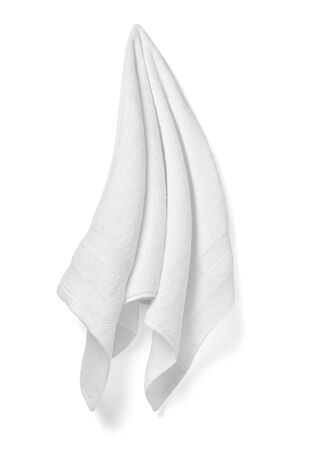close up of a white towel bathroom on white background