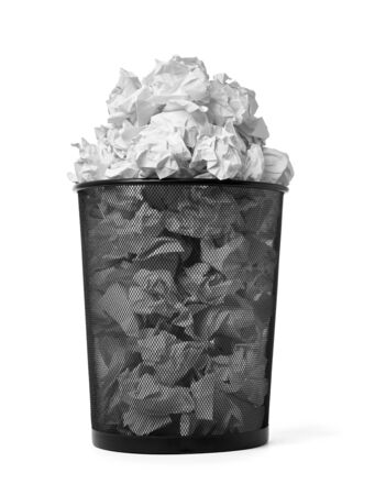 close up of  a paper ball trash bin rubbish on white background Stok Fotoğraf