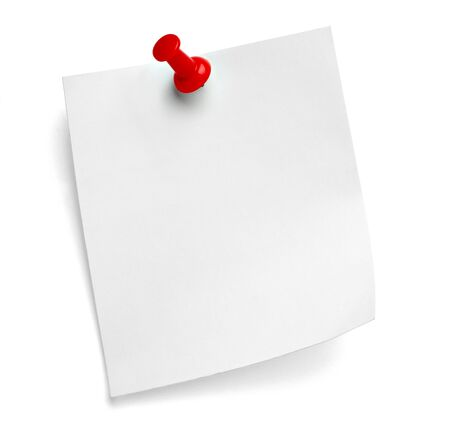 close up of a note paper with a push pin on white background