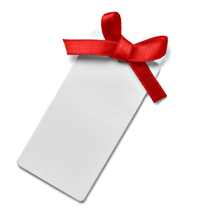 close up of a greeting card note with red ribbon on white background