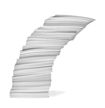 close up of a stack of paper on white background Banque d'images