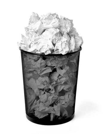 close up of a paper ball trash bin rubbish on white background