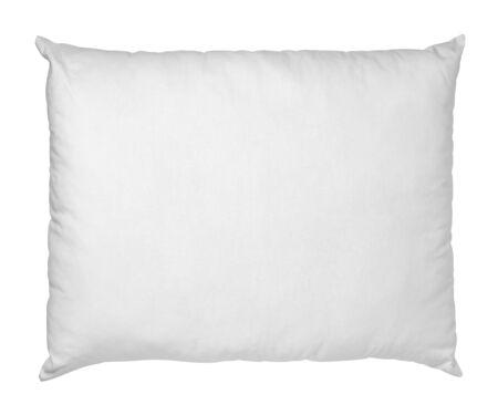 Cerca de una almohada blanca sobre fondo blanco. Foto de archivo