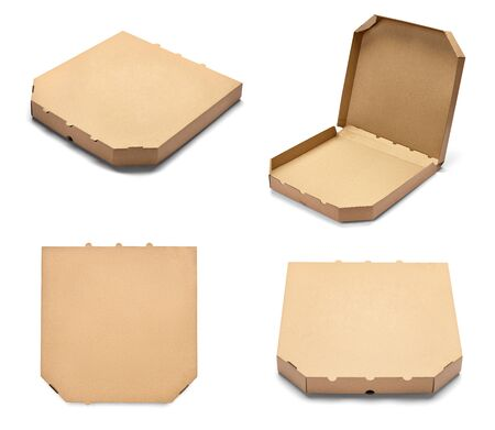 collection of various pizza box on white background