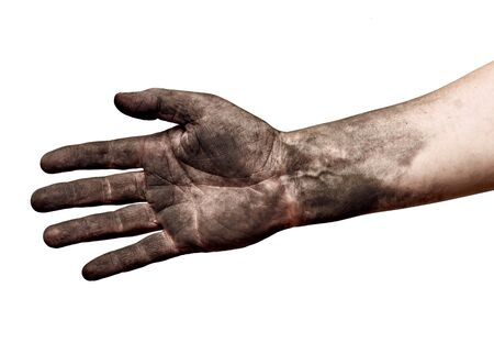 close up of a dirty worker hand on white background