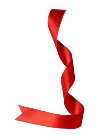 close up of a red ribbon bow on white background