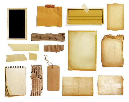 collection of various vintage note paper, tape, price label, wood sign on white background Imagens